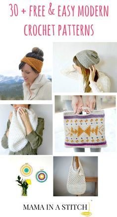 View these patterns and more on one page! Free modern crochet patterns all in one place on Mama In A Stitch blog. These are easy patterns, good for any time of year. #crafts #diy #freepattern