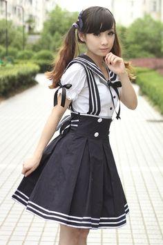kyandimeka — Sailor Lolita Navy Dress Lolita Kawaii Japanese School Girl Uniform