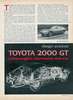 TOYOTA2000GT American Idioms, Toyota 2000gt, Car Posters, Epoch, Japanese, Cutaway, James Bond, Words, Robot