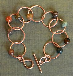 Free DIY blog tutorial --copper soldering!  Copper and gemstone chain bracelet created by Rings & Things designer Polly Nobbs-LaRue.