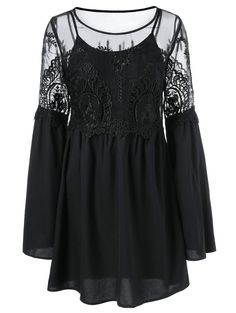 Sheer Lace Splicing Dress and Tank Top
