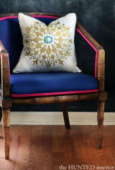Learn how to reupholster your old chairs with bold piping and turn them into something beautiful!