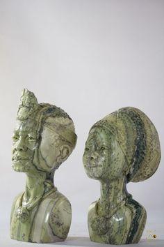 Butter Jade Shona Husband & Wife  Sculpture - Shona Art Garden Sculpture, Lion Sculpture, Jade Stone, Husband Wife, Butter, Statue, Outdoor Decor, Art, Art Background