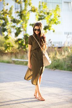 olive shirtdress