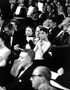 Audrey Hepburn at the 1955 Academy Awards ceremony where she won the Oscar for Best Actress for Roman Holiday..