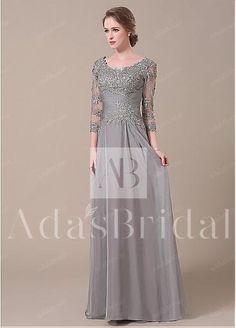 Elegant Silk-like Chiffon Scoop Neckline Sheath Mother of The Bride Dresses