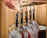 Glideware Maple Kitchen Pullout Organizer with 7 Hooks for Pots, Pans and More! Pan Organization, Small Kitchen Organization, Diy Kitchen Storage, Organizing Ideas, Kitchen Racks, Kitchen Cabinets, Pan Storage, Hidden Storage, Storage Ideas