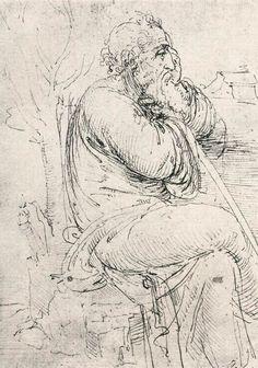 Seated old man by Leonardo da Vinci
