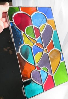 Rainbow Love! Stunning Stained Glass Hearts Suncatcher Panel - pewtermoonsilver