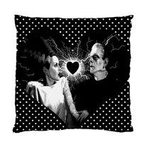 ELECTRIFYING LOVE pillow cushion case by Lttle Shop Of Horrors. HORROR, MONSTER, DEAD, UNDEAD, FRANKENSTEIN, BRIDE OF FRANKENSTEIN