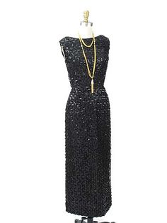 1960s Black Lace and Sequin Evening Gown