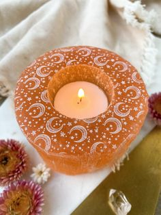 Cleansing Stones, Unique Candles, Candle Holders, Glow, Peach, Beautiful, Bodies, Celestial, Products