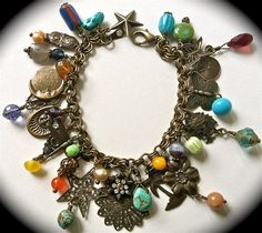 Antiqued brass charm bracelet/necklace - loaded w/amethyst, turquoise, vintage...
