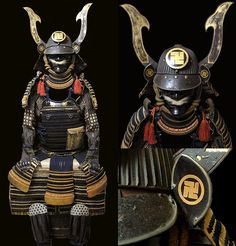 Tetsu Kuro Urushi Nuri 62 Ken Suji Kabuto Ni-Mai Do. Late Muromachi-Momoyama period. (16th century)The Kabuto is signed by Myochin Katsuyoshi. There are two family crests on this suit. The suit belonged to an adopted son of a Hachisuka Clan Daimyo.Hachisuka family crest is called Hachisuka Manji. The Buddhist Manji (swastika) that represents Dharma, universal harmony, and the balance of opposites.