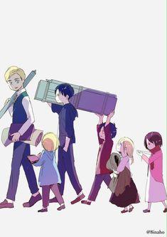 Erwin Smith x Levi Ackermand - Eruri parents and their children (Shinganshina trio and Historia) Attack On Titan / SnK