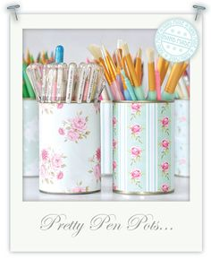upcycle old cans - they were always going to look good using Tilda papers...