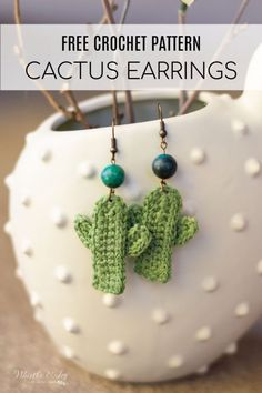 Crochet jewelry 537335799291323700 - Crochet Cactus Earrings – Free Crochet Pattern – These cute and easy crochet cactus earrings make a fun pool-side accessory or gift and would be great addtion to your summer craft booth. Crochet Diy, Cactus En Crochet, Crochet Simple, Crochet Cactus Free Pattern, Crochet Jewelry Patterns, Crochet Earrings Pattern, Crochet Accessories, Knitting Patterns, Diy Crochet Jewelry