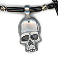 Skulpted Skull Pendant with Black Beaded Necklace by Lehane, $28.00