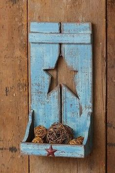 Blue Wooden Shelf With Cut-Out Star