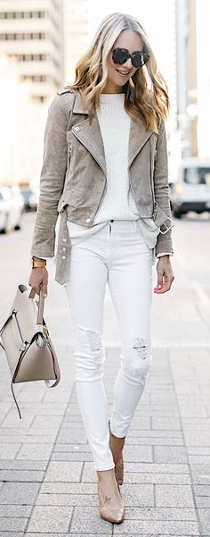 Grey Suede Jacket & White Knit & White Ripped Skinny Jeans & Nude Pumps