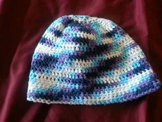 Blue and Purple Youth Crochet Hat by BubblesOfDeath on Etsy, $10.00