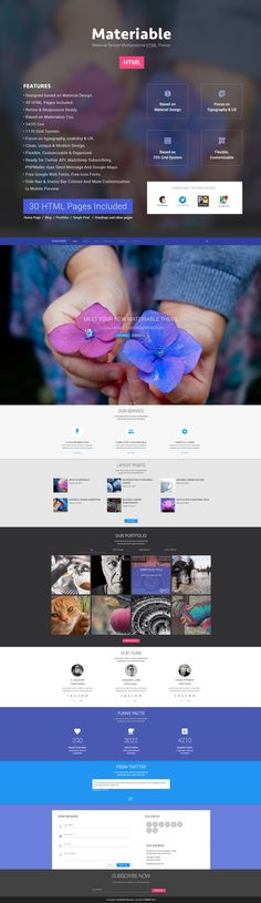 Material Design HTML5 Multipurpose Template Template Site, Email Templates, Best Web Design, Web Design Trends, Layout Design, Ux Design, User Interface Design, Web Design Inspiration, Material Design