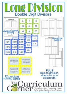Long Division: Dividing by a Double Digit Divisor Teaching Division, Math Division Worksheets, Math Addition Worksheets, Teaching Math, Long Division Activities, Math Teacher, Teacher Stuff, Teaching Ideas, Division Games
