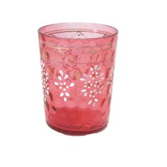 Victorian glass tumbler, hand painted, deep rosy pink, early 1900s