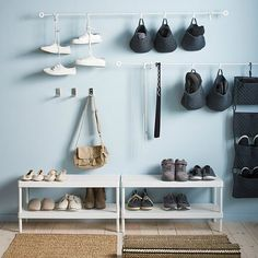 10 Perfect Shoe Storage Solutions From Ikea - Schuh Schrank Ikea Shoe Storage, Shoe Storage Solutions, Hanging Storage, Closet Storage, Storage Baskets, Storage Spaces, Hanging Baskets, Baskets Or, Hallway Storage