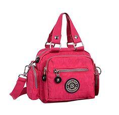 Fansela(TM) Nylon Water Repellent Compact Shopper Shoulder Bag (Plum)