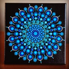 "Vibrant Dot Mandala on stretched canvas 8"" x 8"" cobalt blue, blue, turquoise, white"