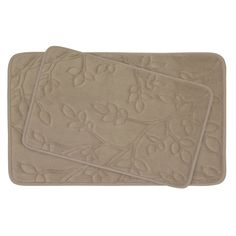 Spring Leaves 2 Piece Micro Plush Memory Foam Bath Mat Set