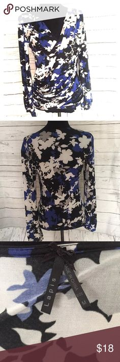 Modern print wrap front blouse EUC Fabric is so silky and beautiful!  Great design, wrap front is timeless and Classic and sophisticated!  Perfect with white for summer.  Perfect top! Lapis Tops Blouses