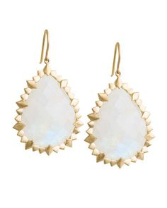 Marquise Edge Pear Earrings with Rainbow Moonstone by Jamie Wolf at Neiman Marcus.