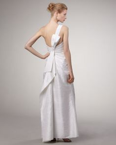 Phoebe Couture One-Shoulder Dupioni Gown