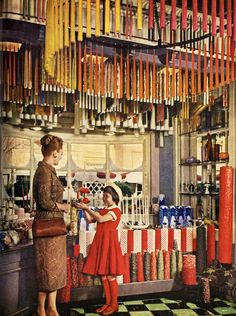 Candle shop at Disneyland in Incredible photo! Those candles are bigger than the little girl. Also love the tapers from the ceiling. Disneyland Main Street, Vintage Disneyland, Disneyland Trip, Old Disney, Disney Love, Disney Stuff, Disney Rides, Disney Secrets, Candle Shop
