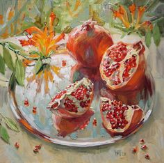 Pomegranate Paintings by Maria Pavlova - AmO Images - AmO Images Pomegranate Art, Pavlova, Food Painting, Types Of Painting, Granada, Fruit Illustration, Still Life Art, Delicious Fruit, Yummy Recipes