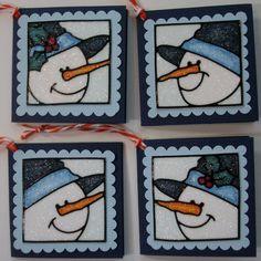 Scrap Shotz Snap Shotz: Fabulous Fundamental: Using Copics with Elizabeth Craft Designs Stickers Christmas Tag, Handmade Christmas, Christmas Crafts, Snowman Cards, Elizabeth Craft Designs, Glitter Art, Craft Stickers, Handmade Tags, Winter Cards