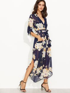 Shop Navy Floral Print Self Tie Wrap Chiffon Dress online. SheIn offers Navy…