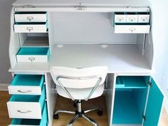 Roll-Top Desk Makeover: Business on the Outside, Party on the Inside! - the thinking closet Furniture Update, Furniture Makeover, Cool Furniture, Painted Furniture, Furniture Online, Furniture Ideas, Furniture Showroom, Desk Ideas, Kitchen Furniture
