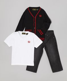 Take a look at this Black & Red Cardigan Set - Toddler & Boys by College Boyys on #zulily today!