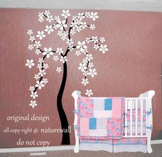 Cherry blossom wall decal tree decal baby nursery kids white flower  room decor nature girl wall decor wall art-Cherry Blossom Tree on Etsy, $68.00