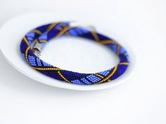 Made to order Bead Crochet Necklace Deep blue by Chudibeads, $62.00