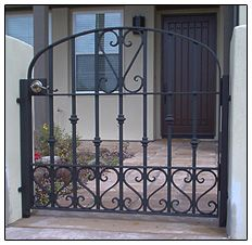 Beautiful wrought iron security iron gates and fences to provide a secure barrier to your home. Custom designed at Melbourne Wrought Iron. Wrought Iron Garden Gates, Wrought Iron Beds, Metal Gates, Gates And Railings, Iron Railings, Garden Doors, Iron Work, Entrance Gates, Gate Design