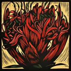 'Gymea Lily', hand-coloured linocut by Australian Bruce Goold Scratch Art, Glasgow School Of Art, Wood Engraving, Graphic Illustration, Illustrations, Woodblock Print, Print Artist, Botanical Prints, Flower Art