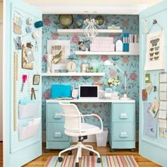 It's not usually reality that one gets their own sewing room, but a sewing closet is at least a tad closer to reality! Small Sewing Rooms, Sewing Spaces, Sewing Closet, Sewing Nook, Closet Office, Closet Desk, Closet Space, Office Nook, Closet Doors