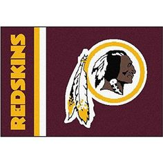 19 X 30 NFL Redskins Door Mat Printed Logo Football Themed Sports Patterned Bathroom Kitchen Outdoor Carpet Area Rug Gift Fan Merchandise Vehicle Team Spirit Red Gold White Nylon