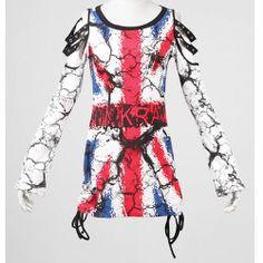 Alternative White Graphic Long Sleeve Punk Emo Tops Clothing Store SKU-11409332