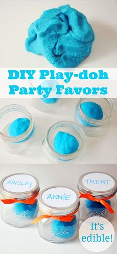 We love everything about these easy personalized budget friendly party favor - play-doh in mason jars. // Momtastic