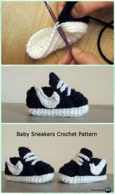 Crochet Nike Style Baby Sneaker Booties Free Pattern - Crochet Baby Booties Slippers Free Pattern' Crochet Baby Booties Slippers Free Patterns: Crochet Baby Booties Slippers for Spring and Crib Walkers, Easy Quick Crochet Gifts for Baby girl and boy Booties Crochet, Crochet Baby Shoes, Crochet Baby Clothes, Crochet Slippers, Love Crochet, Crochet For Kids, Baby Booties, Knit Crochet, Kids Slippers